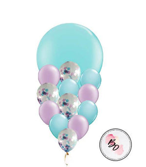 Aqua Blue and Lavender Giant Balloon Bouquet