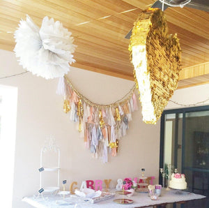 Gold Fringed Heart Piñata - Bickiboo Party Supplies