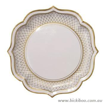 Party Porcelain Gold Serving Plate - Bickiboo Party Supplies
