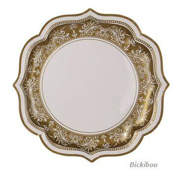 Party Porcelain Gold Serving Plate - Bickiboo Designs