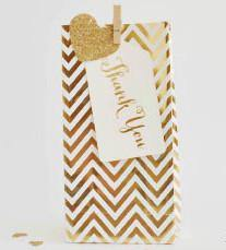 Gold Foil Chevron Party Bag - Bickiboo Party Supplies