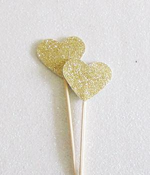 Gold Glitter Heart Swizzle Sticks - Bickiboo Party Supplies