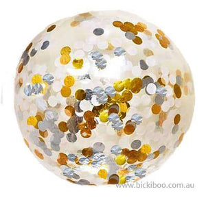 Jumbo Confetti Balloon Metallic Gold, White & Silver - 90cm - Bickiboo Designs