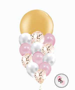Pretty Gold & Pink Confetti Balloon Bouquet