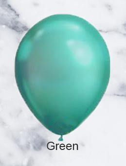 Green Chrome Look Balloons - 28cm (5 pack)