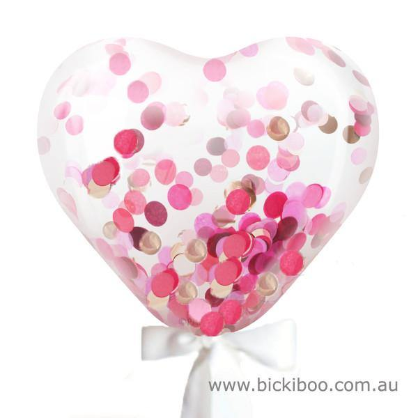 Custom Jumbo Heart Confetti Balloon - 90cm - Bickiboo Party Supplies