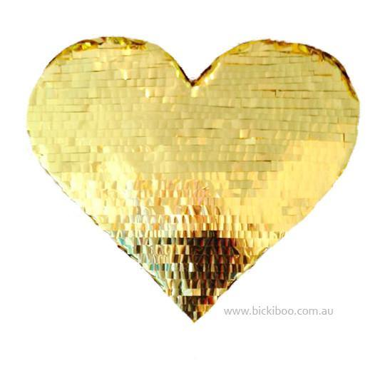 Gold Fringed Heart Piñata