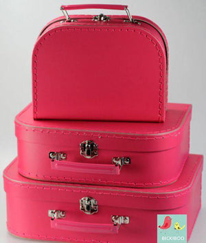 Hot Pink Mini Euro Suitcases - Bickiboo Designs