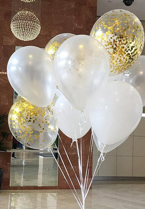 Pearl White & with with Gold Confetti Balloons Bouquet