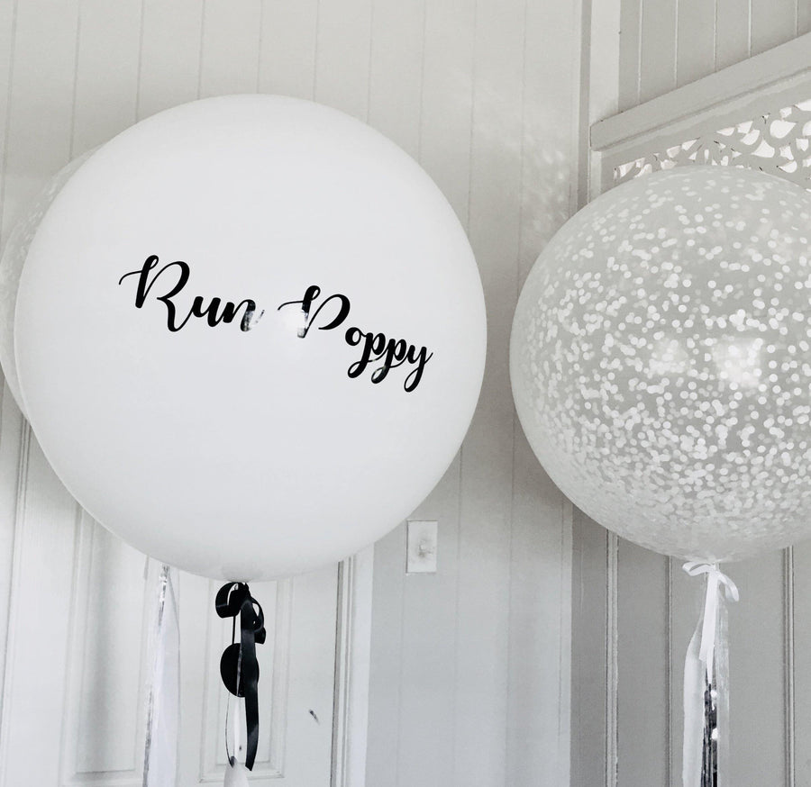 Jumbo Helium Filled  Confetti Balloon with small metallic white confetti - Bickiboo Designs