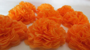Apricot Orange Button Mums Tissue Paper Flowers - Bickiboo Party Supplies