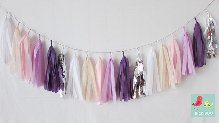 Tissue Paper Tassel Garland - Purple Dreams