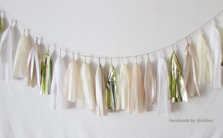 Tissue Paper Tassel Garland - Bridal Collection - Gold - Bickiboo Designs