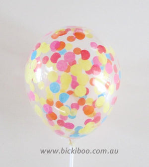 Custom Confetti Mini Balloons - 12cm (4 pack) - Bickiboo Party Supplies