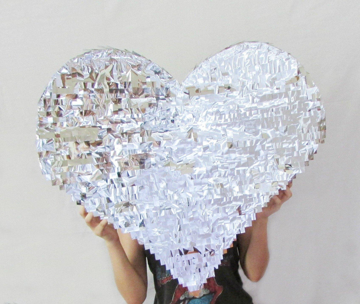 Silver Fringed Heart Piñata