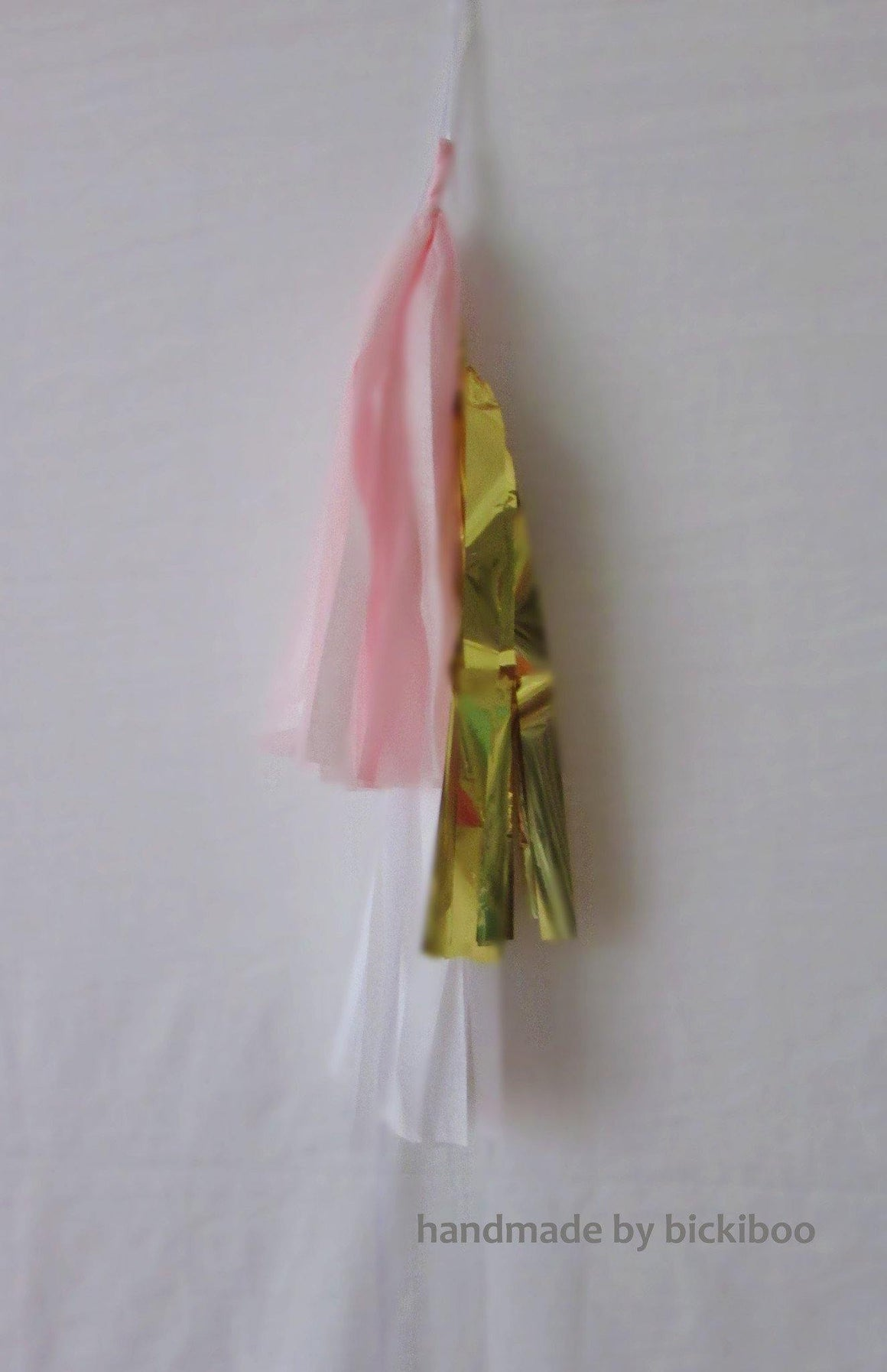 Petite Balloon Tassel Tail - Pink, White & Gold - Bickiboo Party Supplies