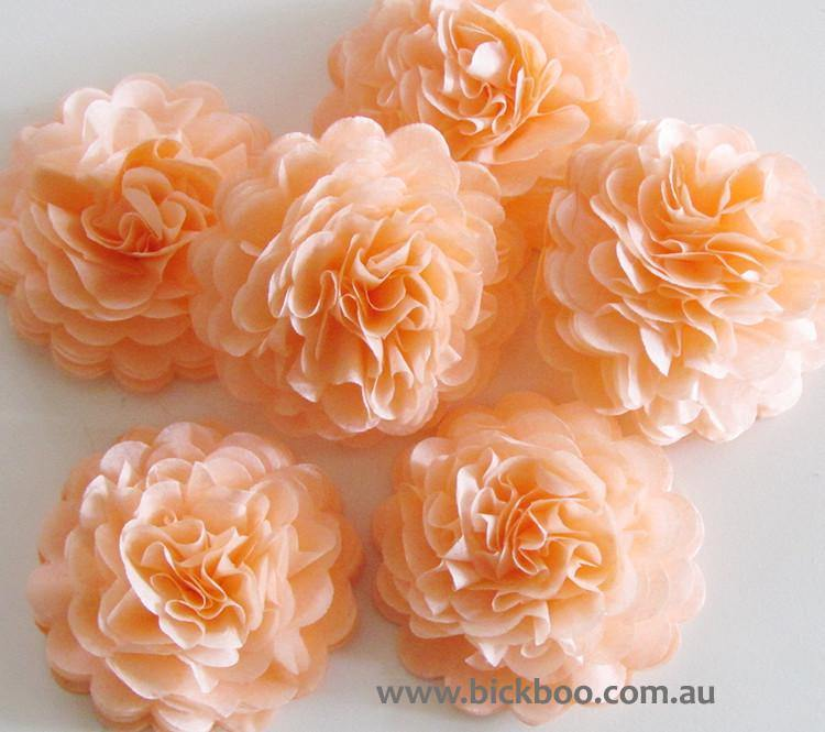 Peach Button Mums Tissue Paper Flowers - Bickiboo Party Supplies