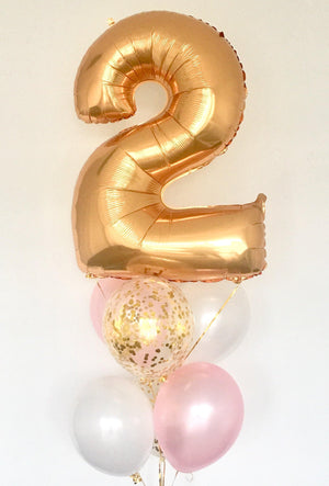 Balloon  Bouquet With a Gold Age Number - Bickiboo Designs