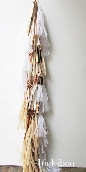 Balloon Tassel Garland - Natural & Rose Gold