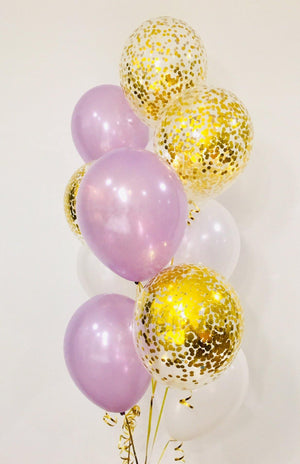 Pearl Lavender with Gold Confetti Balloons Bouquet