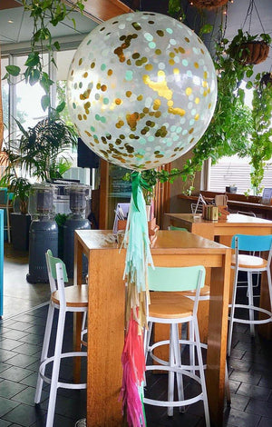 Jumbo Helium Filled Confetti Balloon - Mint & Gold - Bickiboo Designs