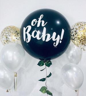 90cm Helium Filled Giant Gender Reveal Balloon -Oh Baby - Bickiboo Designs