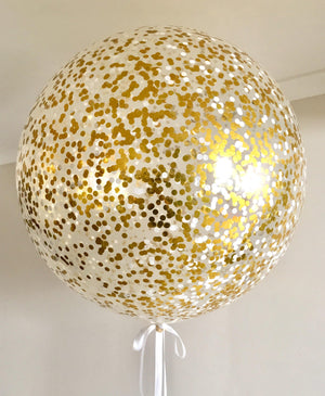Jumbo Helium Filled  Confetti Balloon with small metallic gold & white confetti - Bickiboo Designs