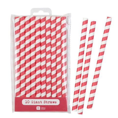Mix & Match Jumbo Red Straws 10pk - Bickiboo Party Supplies