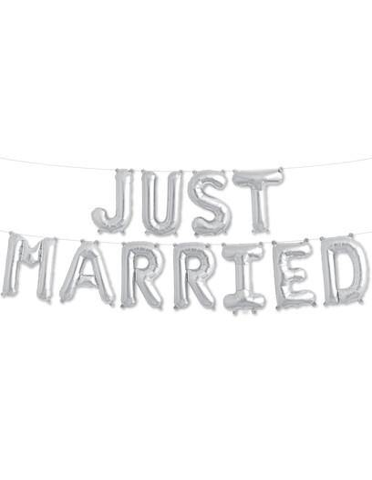Silver 'JUST MARRIED' Balloons - Bickiboo Designs
