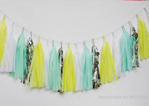Tissue Paper Tassel Garland - Lemon & Mint - Bickiboo Designs