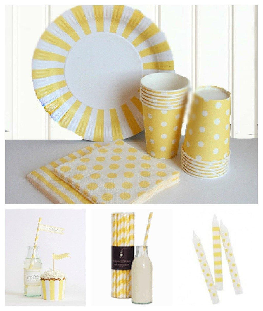 Lemoncello stripe large party plate - Bickiboo Designs