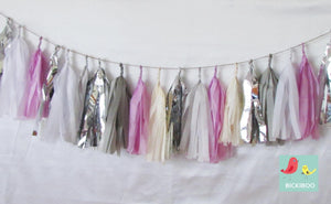 Tissue Paper Tassel Garland - Lilac Dream