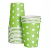 Lime green polka dot paper party cup - Bickiboo Party Supplies