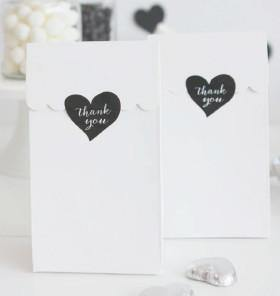 Sambellina Heart Stickers - Black with White 24 Pack - Bickiboo Party Supplies