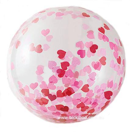Jumbo Confetti Balloon - Love Hearts - 90cm - Bickiboo Party Supplies