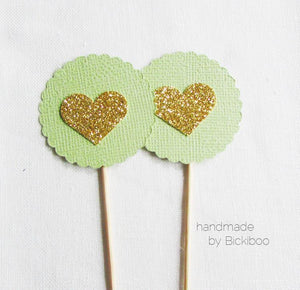 Mint & Gold Glitter Cupcake Toppers - Bickiboo Party Supplies