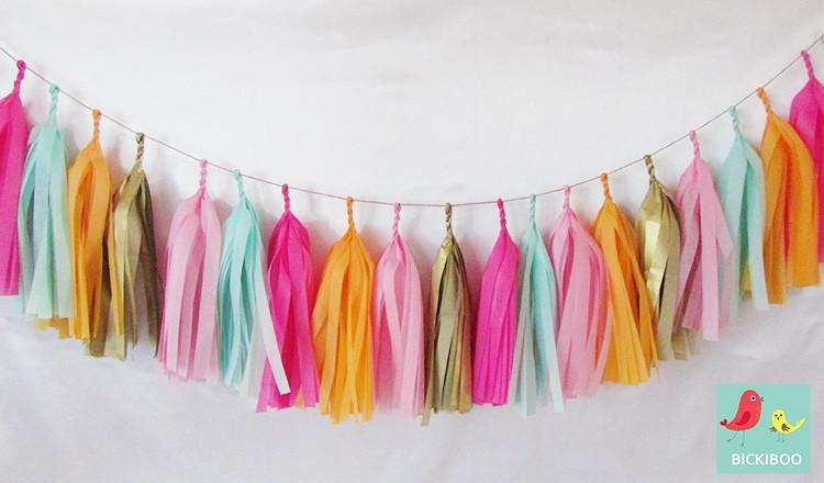 Tissue Paper Tassel Garland - Melon Ball