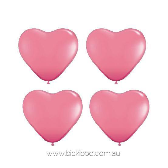 Rose Pink Mini Heart Balloons - 15cm (4 pack) - Bickiboo Designs