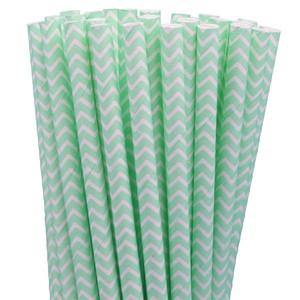 Mint Green Chevron Paper Drinking Straws (25 pack) - Bickiboo Party Supplies