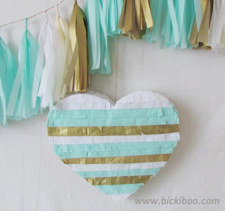 Gold & Mint Fringed Heart Piñata - Bickiboo Party Supplies