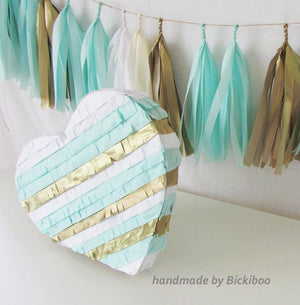 Custom Colour Fringed Heart Piñata - Bickiboo Designs