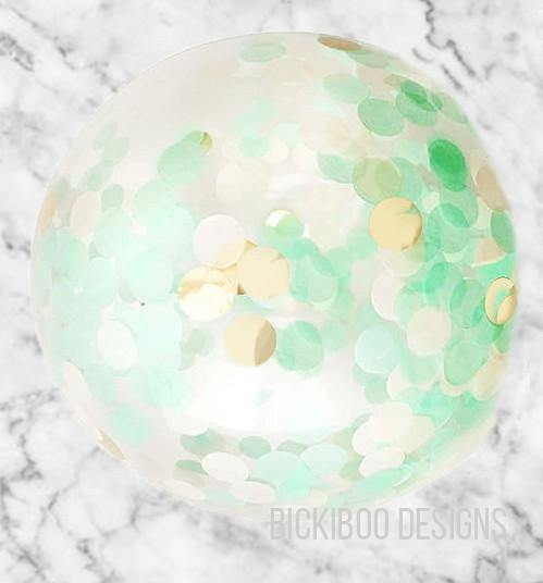 Large Confetti Balloon - Mint & Gold - 60cm - Bickiboo Designs