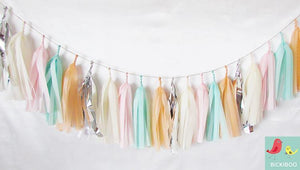 Tissue Paper Tassel Garland - Mint & Peach
