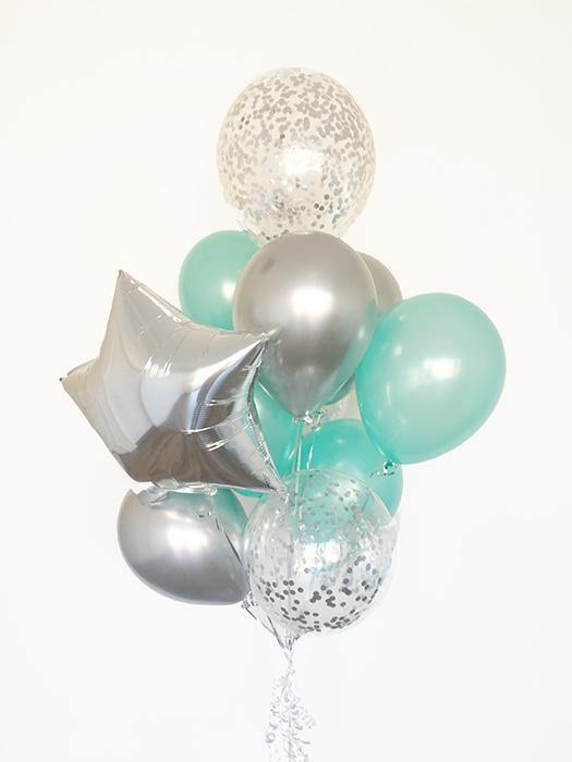 Mint & Silver Confetti Balloons Bouquet