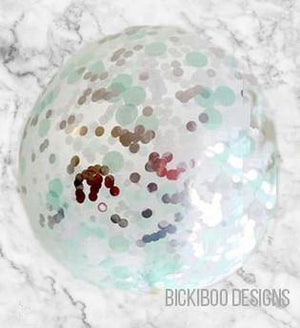 Large Confetti Balloon - Mint & Silver - 60cm