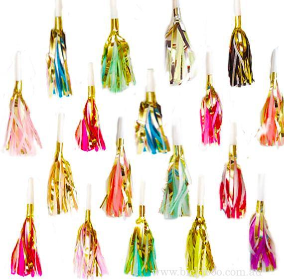 Tassel Party Horns -Multi - 100 pack