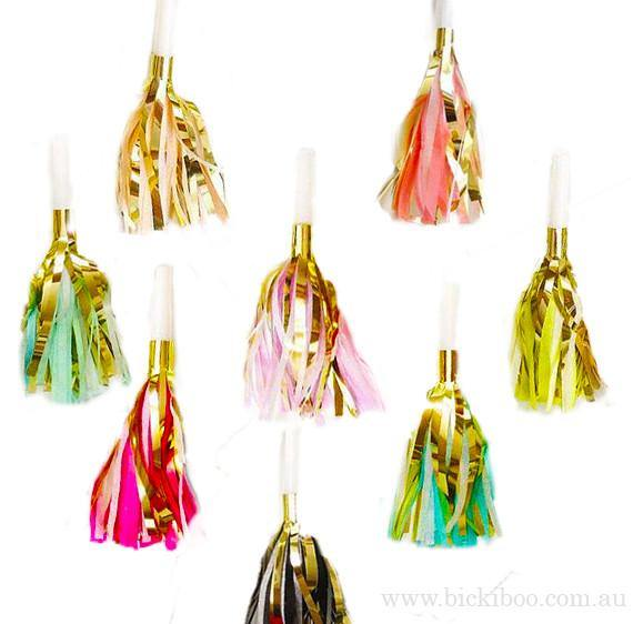 Tassel Party Horns -Multi - 50 pack - Bickiboo Designs