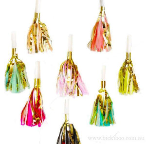 Tassel Party Horns -Multi - 25 pack - Bickiboo Designs