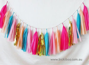 Tissue Paper Tassel Garland - Multi Colours - Bickiboo Designs