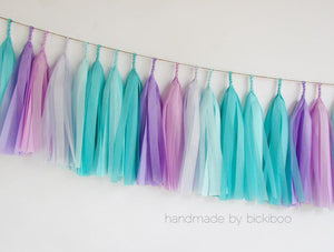 Tissue Paper Tassel Garland - My very little mermaid - Bickiboo Designs